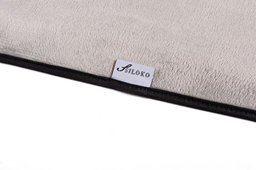SILOKO Non-Slip Washable Soft Flannel Bath Mat 20-Inch by 32-Inch Gray