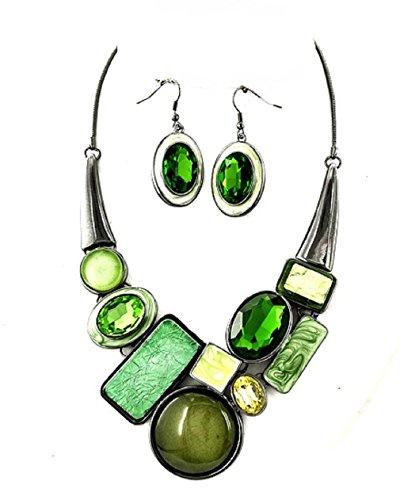 Uniklook Mixed Green Simulated-Gem Crystal Round ChunkyStatement Hematite Chain Necklace - Hematite Set Costume Necklace Jewelry