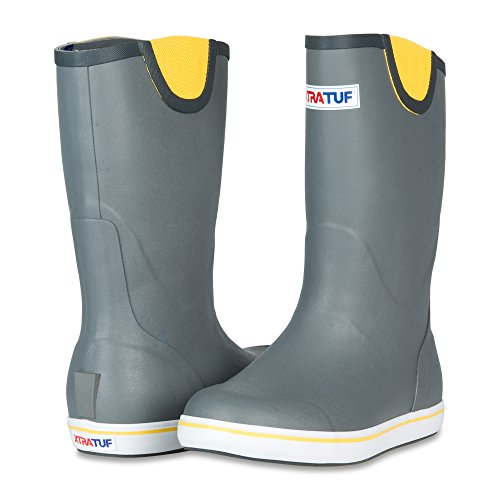 XTRATUF Performance Series 12'' Men's Full Rubber Deck Boots, Gray & Yellow (22712) by Xtratuf (Image #7)