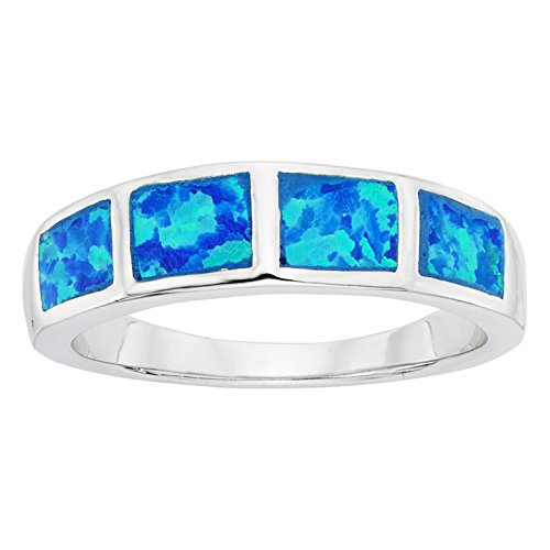Sterling Silver Created Blue Opal Band Ring (Size 8)