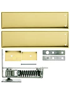 Standard Duty Swinging Door Floor Hinge With Plated-Steel Cover Plates In Polished Brass Finish. Double Action Floor Hinge.