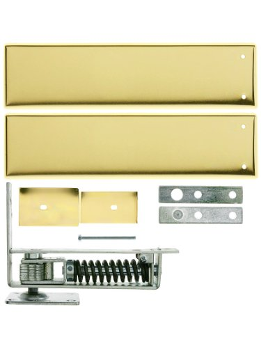 Standard Duty Swinging Door Floor Hinge With Plated-Steel Cover Plates In Polished Brass ()