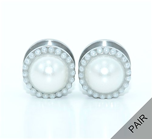 Pearl plugs 2g, 0g, 00g, 1/2, 9/16, 5/8, 11/16, 3/4 - Wedding Gauges (Wedding Gauges)