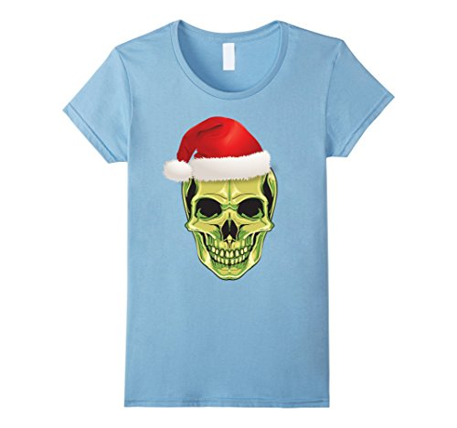 Female Mashup Costumes (Womens Skeleton Skull Santa Hat Goth Halloween Christmas Mashup Small Baby Blue)