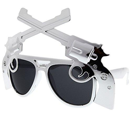 grinderPUNCH Novelty Gun Sunglasses Chrome 2nd Amendment Revolver Pistol - Scream Sunglasses