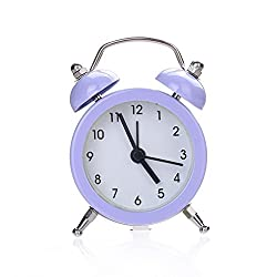 Yeefant Twin Bell Silent Alloy Bed Compact Quartz Clock Cute Portable Stainless Metal Student Classic Clock Decor for Living Room Bedroom,Purple
