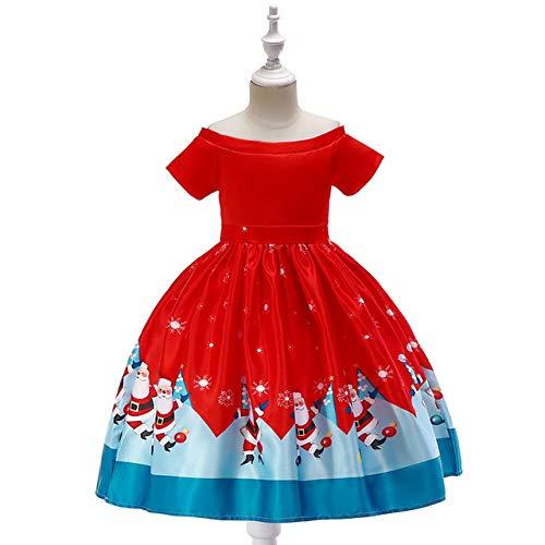 lkouq Vestido Rojo para Niñas Impresión 3D Nieve Papá Noel ...