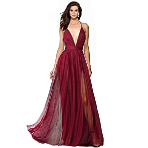 Alluring deep v-Neckline Spaghetti Straps Criss-Cross Open Back Tulle Dual Front Slits Evening Prom Formal Dress