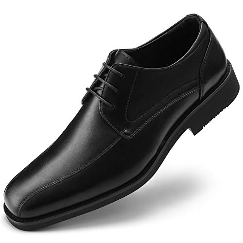 GM GOLAIMAN Men's Formal Derby Dress Shoes Lace Up Oxfords Stylish Bicycle-Toe Bluchers Black 10.5