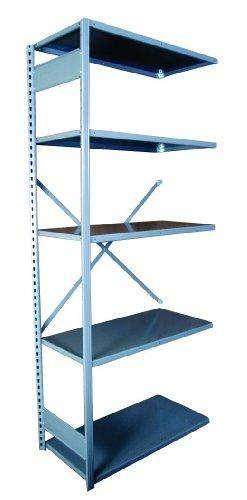 Equipto 665-5A V-Grip 18-Gauge Heavy Duty Steel Open Shelf Add On Unit with 5 Shelves, 721 lbs Shelf Capacity, 36