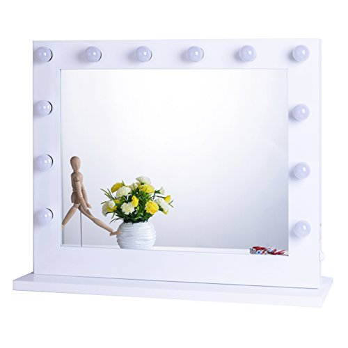 Chende White Hollywood Lighted Makeup Vanity Mirror Light, Makeup Dressing Table Vanity Set Mirrors with Dimmer, Tabletop or Wall Mounted Vanity, LED Bulbs Included (8065, White) (Lights With Desk Mirror And)
