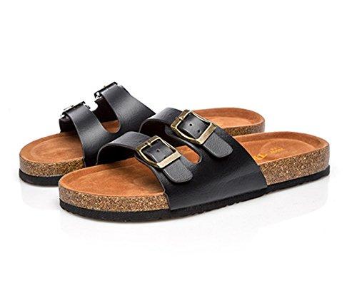 Mujer Plana Sandalias Unisexo Zapatos de la playa plataforma Zapatos de Verano Chancletas Zapatillas Negro