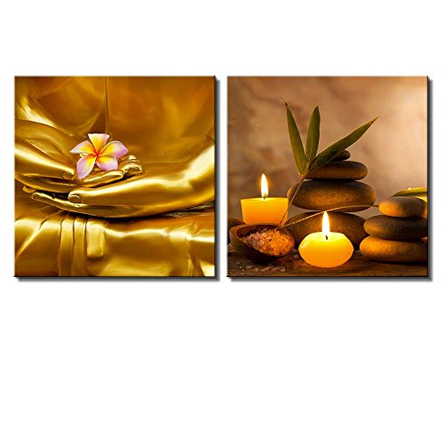 Two Piece Copper Buddha Holding a Plumeria Along with Candles and Rocks on 2 Panels