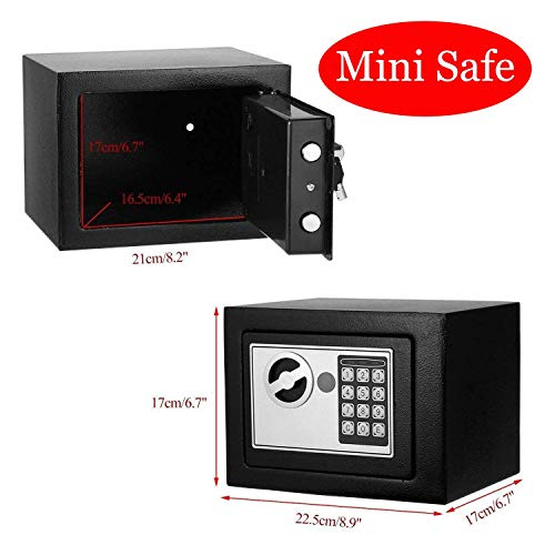 Mini Safe Box, Electronic Digital Security Wall Safes with 2 Keys Mini Safe