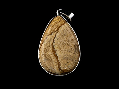 Beads Ok, DIY, Picture Jasper, Genuine, Natural, 20x30mm, Puffed Teardrop Semi-Precious Gemstone Pendant with Nickel Plated Metal Edge, 1 Piece. (Please Click to See Other ()