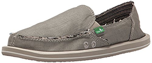 Sanuk Women's Donna Hemp Loafers Olive Grey 6 & Oxy Shoe Cleaner ()