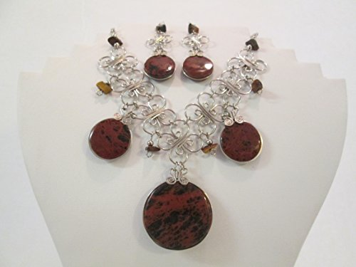 Tigers Eyes Crystal Healing Necklace and Earrings Set Round Shape Stone ()