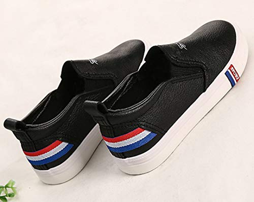 iDuoDuo Boy Girl Soft PU Leather Flat Leisure Shoes Fashion Stripes Loafers Black 2 M US Little Kid by iDuoDuo (Image #5)