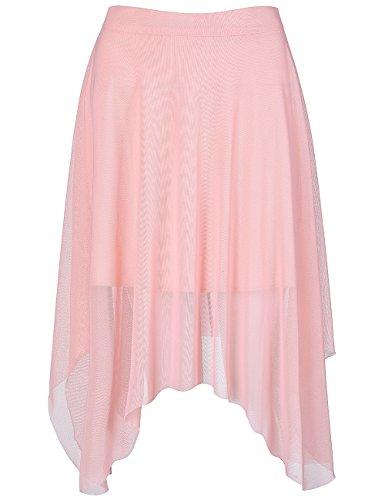 Fancyqube Women's Elastic Waist Sheer Mesh Knee Length Irregular Tulle Ruffled Midi Skirt Pink 2XL
