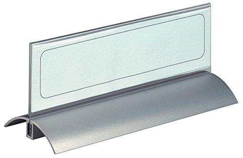 Durable Table Place Name Holder Acrylic with Inserts and Metal Base 61x210mm Clear Ref 8202/19 [Pack of 2] by Durable