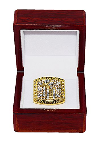 FLORIDA STATE UNIVERSITY SEMINOLES (Greg Moore) 1999 BCS NATIONAL CHAMPIONS (Team of the 90's) FSU Rare & Collectible Replica College Football Gold NCAA Championship Ring with Cherrywood Display Box