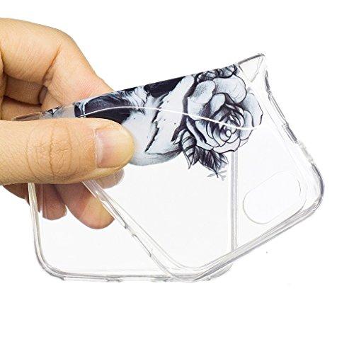 Crisant Totenkopf Drucken Design weich Silikon Ultra dünn TPU Transparent schutzhülle Hülle für Apple iPhone 7 4.7'' (4,7''),Premium Handy Tasche Schutz Case Cover Crystal Bumper Schale für Apple iPho