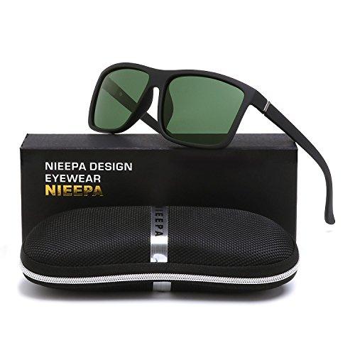 NIEEPA Men's Driving Sports Polarized Sunglasses Square Wayfarer Plastic Frame Glasses (Dark Green Lens/Black Frame)