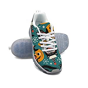 FAAERD Halloween Vintage Cats And Pumpkins Men's Breathable Mesh Air Cushion Sports Running Shoes Casual Walking Sneakers