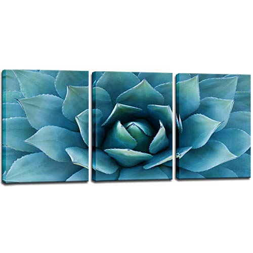 Biuteawal- Modern Canvas Painting Wall Art Blue Agave Picture Plant Painting Wall Decor Turquoise Teal Art Print Gallery Wrap Ready to Hang Modern Bedroom Decorations