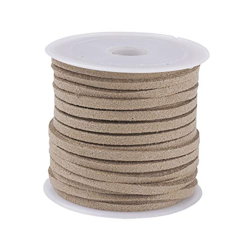 Fashewelry 3x1.5mm Faux Suede Beading Cord Micro Fiber Leather Lace Thread String 5 Yards/roll(Khaki) - Naturally Close Lace
