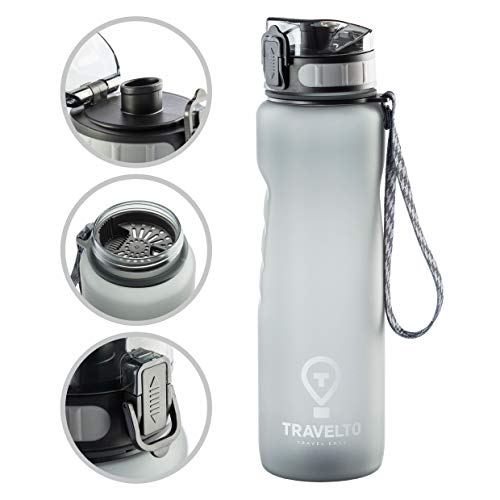 TRAVELTO Water Bottle 32oz - 100% Tritan Leakproof Sports Bottle - BPA Free - FDA Approved - Flip Top Leak Proof Lid - One Click Open - for Travel, Gym, Workout, Fitness, Hiking - 1000ml - 1 Liter