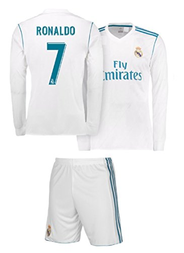 3a2fdb250c2 Real Madrid Home Ronaldo Kids  7 Soccer Kit Jersey and Shorts 4 IN 1  MULTIPLE