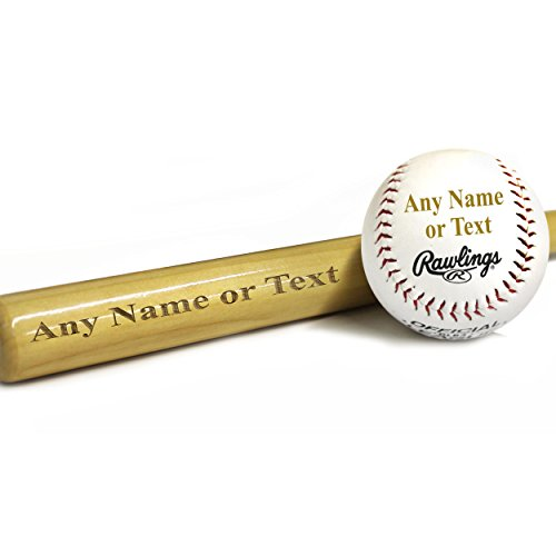 (Custom Engraved Mini Baseball Bat and Ball Combo - Ring Bearer Groomsmen Gift - Monogrammed Personalized Free )