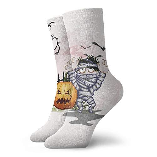 SARA NELL Men Women Novelty Funny Crazy Crew Sock Halloween Pumpkin Mummy Printed Sport Athletic Socks 30cm Long Personalized Gift Socks ()