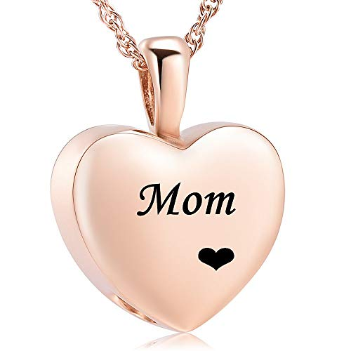 Cremation Jewelry for Ashes Holder - Heart Locket Pendant Necklace Jewelry - Keepsake Funeral Urns Memorial Gift for Women/Men, Free 20 Inch Chain+Fill Kit ()