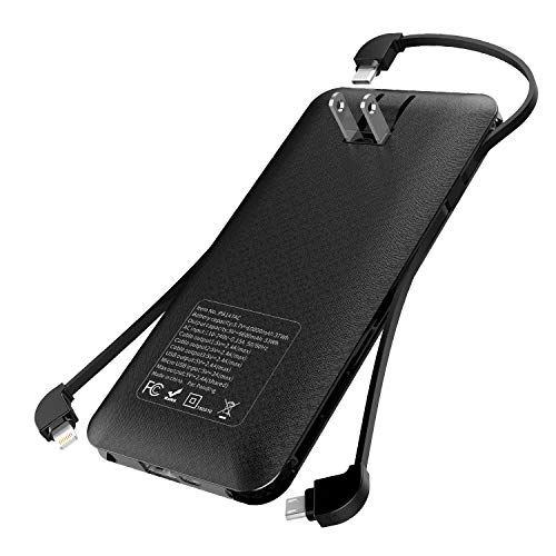 Heloideo 10000mAh Portable Charger Power Bank External Battery Pack with AC Plug and Micro Type-c Cables for Cellphone(Black)