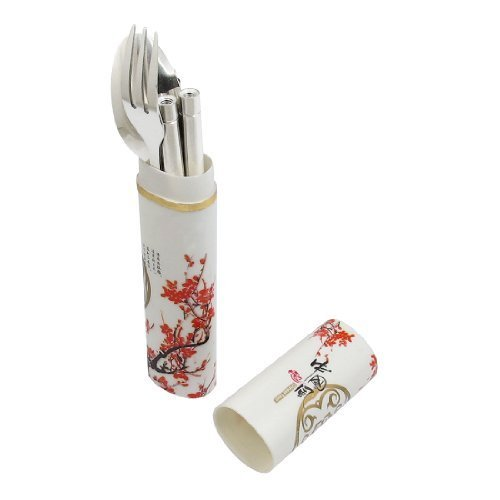 Water & Wood Portable Stainless Steel Spoon Fork Chopsticks w Plum Blossom Prints Case