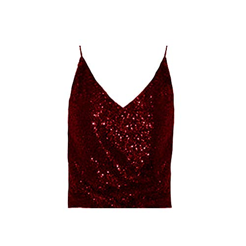 EVEDESIGN Women's Sparkle Sequin V Neck Sleeveless Base Layer Glamour Sexy Club Tank Top ()