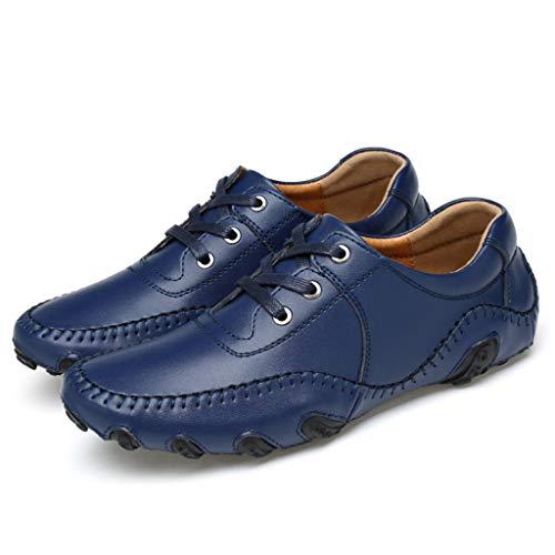Weisheng Men's Classic Fashion Golf Shoe Lightweight Street Leather Shoes for Men (10, Blue)