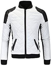 S&S Men's Slim Fit Black White Stitching PU Leather Collar Diamond-Quilted Jacket