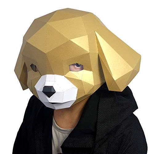 Animal Clumsy 3D mask Party Halloween Cute Dog Puppy Helmet DIY Cosplay Creative Handwork Funny Masker Lovely White -