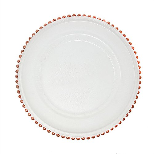 Beautiful Glass Dinnerware Formal 13-Inch Pink Rose Gold Beaded Clear Glass Charger Plate Wedding Party Dinner Modern Appeal Glass Plates - Beaded Charger Glass