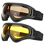 COOLOO Ski Goggles, Pack of 2, Snowboard Goggles for Kids, Boys & Girls, Youth, Men & Women, with UV 400 Protection, Wind Resistance, Anti-Glare Lenses (Tawny/Yellow)