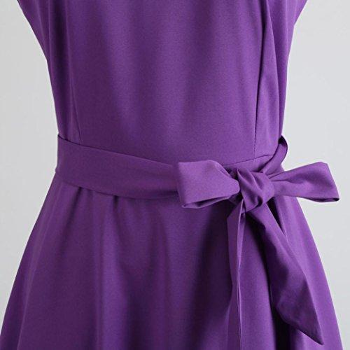 Fiesta Verano Estampado Vintage Zarupeng con Vestido de mujer de Mangas 50 Vestido Cinturón Vestido Algodón Cóctel de Años sin Niñas Púrpura para qnaPIw