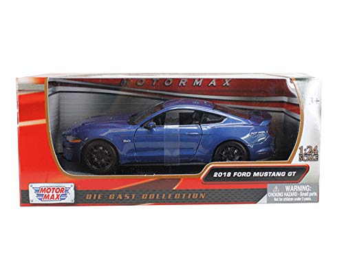 Motor Max 2018 Ford Mustang Gt 5.0 Blue with Black Wheels 1/24 Die-Cast Model Car 79352BL
