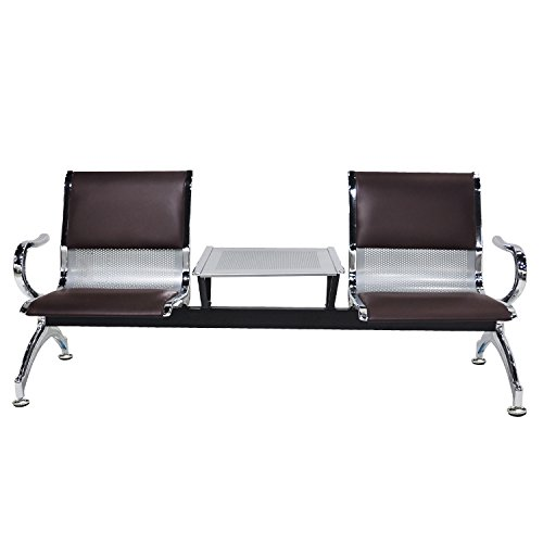 WONLINE 2 Seat Heavy Duty Guest Airport Reception Waiting Room Chair Lobby Garden Salon Barber Benches Bank Hall Hospital Waiting Bench Furniture Brown PVC Leather Cushion w/Table