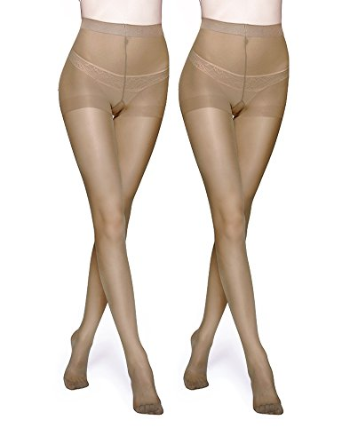 (Vero Monte 2 Pairs Control Top Pantyhose for Women - Semi Opaque Tights (Nude))