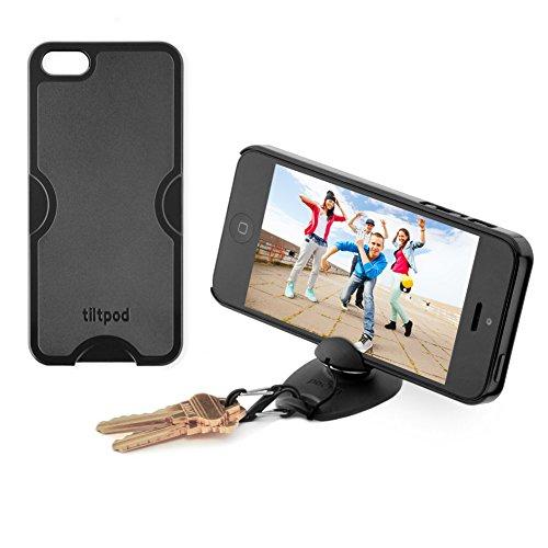 Tiltpod Keychain stand and case for iPhone 5, mini pivoting tripod - black (Tripod Keychain)