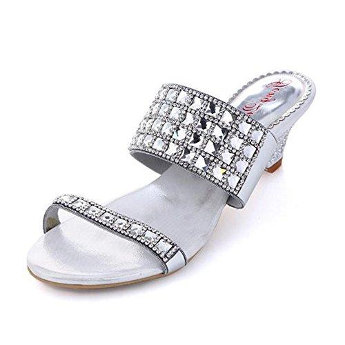 des Sandales à l'usure Résistant Nouvelle Été Silver Diamants Bas Femme avec Dérapant Sandales des Talons xie Anti à Strass 4qnZ6Hzv