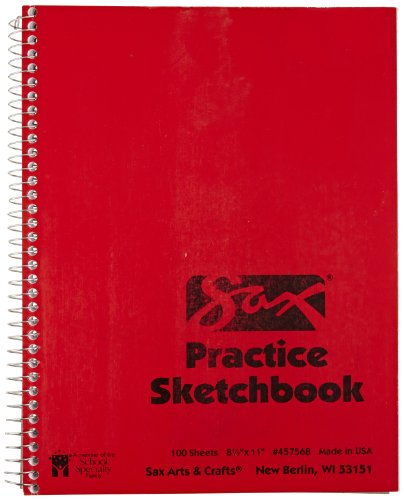 Sax Spiralbound Practice Sketchbook - 8 1/2 x 11 inches - 100 Sheets per Pad - White